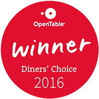 Open Table Diner's Choice Winner 2016