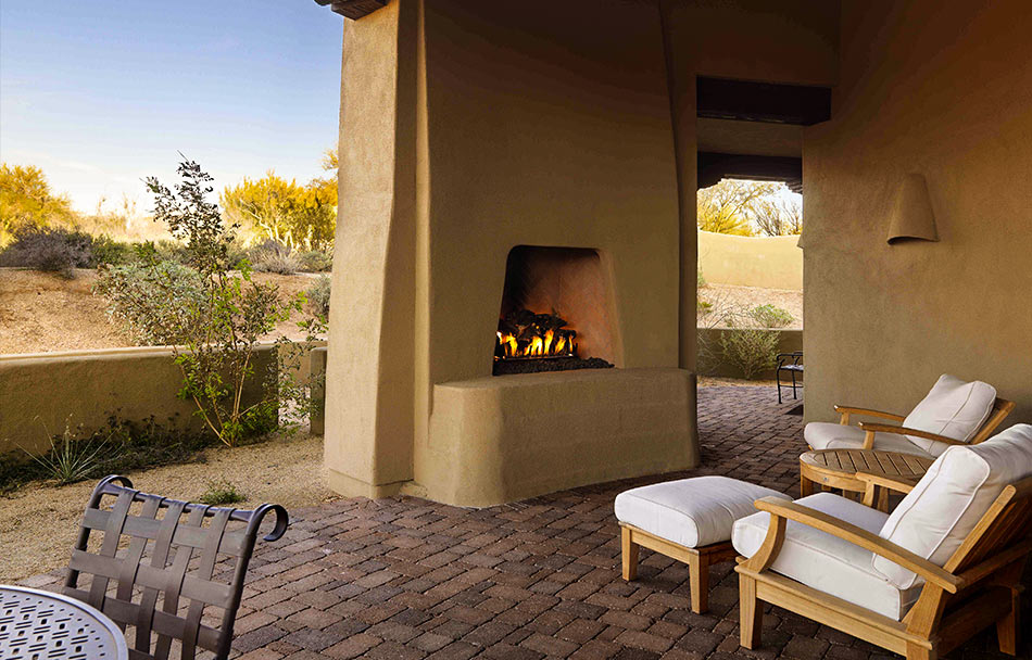 Private patio with garden furniture, fireplace and views of Sonoran Desert